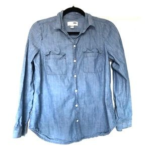Mock Denim Button Down
